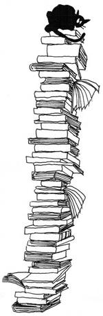 <p>Gatto su un montone di libri.</p>
